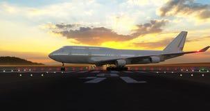 Passenger airplane preparing for take-off
