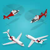 Passenger Airplane. Private jet. Passenger Helicopter. Isometric Transportation. Aircraft Vehicle. Air Transportation. Vector illustration Stock Images
