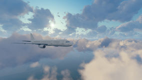 Passenger airplane in sunny sky with clouds Stock Image