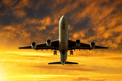 Passenger airplane. In the sunset Royalty Free Stock Photo