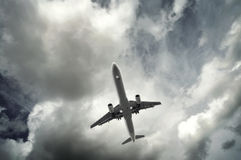 Passenger airplane taking off stock photography