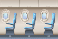 Passenger airplane vector interior. Aircraft indoor with comfortable chairs and portholes. Interior of aircraft and airplane illustration Stock Photos