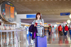 Passenger at the airport with take away coffee Stock Photography