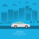 The passenger automobile. Against the background of the city. The vehicle moves on the city highway. A vector illustration in flat style with the place for the Royalty Free Stock Photo