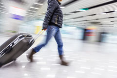 Passenger in the Beijing airport,motion blur.  Royalty Free Stock Image