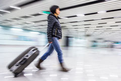Passenger in the Beijing airport,motion blur Royalty Free Stock Image