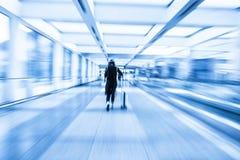 Passenger in the Beijing airport,motion blur.  Stock Photo