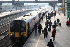 Passenger boarding electric train at Carlisle Stock Images