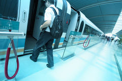 Passenger boarding Maglev train Stock Image