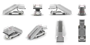 Passenger Boarding Stairs Car renders set from different angles on a white. 3D illustration. Passenger Boarding Stairs Car renders set from different angles on a Stock Photo