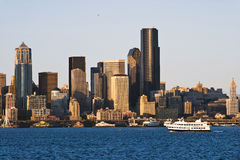 Passenger boat bay background skyscrapers downtown Seattle city Royalty Free Stock Image