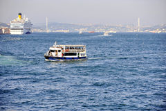 Passenger boat on Bosphorus strait Royalty Free Stock Photography