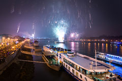 Passenger Boat with Fireworks in Background royalty free stock image