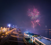 Passenger Boat with Fireworks in Background Stock Image
