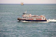 Passenger boat floating by English Channel Stock Photos