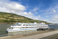 Passenger boat Germania cruises at river Rhine Stock Image