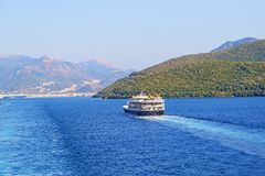 Passenger boat Igoumenitsa port Greece. Passenger boat approaching Igoumenitsa port.It is a coastal city in northwestern Greece. It is the capital of the Royalty Free Stock Image