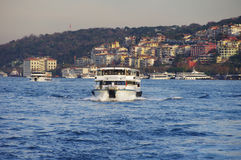 Passenger boat and Istanbul panoramic view Royalty Free Stock Image
