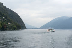 Passenger boat on lake Lugano, Switzerland Royalty Free Stock Photos