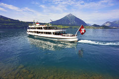 Passenger boat, Lake Thun, Switzerland. Passenger cruise boat, Lake Thun, Switzerland Stock Images