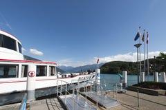 Passenger boat pier at Spiez, Switzerland stock photos