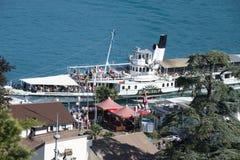 Passenger boat pier at Spiez, Switzerland Royalty Free Stock Photo