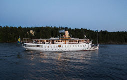 Passenger boat in the Stockholm archipelago. Royalty Free Stock Photo