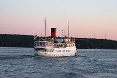 Passenger boat in the Stockholm archipelago. Royalty Free Stock Photography