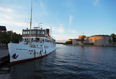 Passenger boat in the Stockholm archipelago Royalty Free Stock Photo