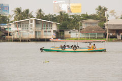 The passenger boat was traveling on the chaophraya river. Royalty Free Stock Photography