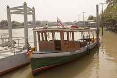The passenger boat was traveling on the chaophraya river. Royalty Free Stock Photo