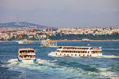 Passenger Boats on Bosphorus Strait Royalty Free Stock Image