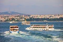 Passenger Boats on Bosphorus Strait royalty free stock image