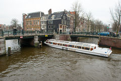 Passenger boats on canal tour Stock Image