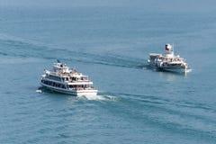 Passenger boats, Lake Thun, Switzerland stock photography
