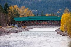 Passenger bridge over Kicking Horse river in the town of Golden, Royalty Free Stock Photos