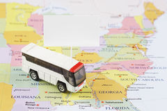 Passenger bus map. Passenger bus on the USA map Royalty Free Stock Photo