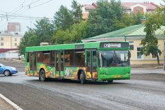 Passenger bus MAZ-103. Krasnoyarsk, Russia - July 28, 2018: Passenger bus MAZ-103. The movement on changed a route in connection with repair of a paving royalty free stock image