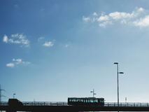 Passenger bus or tour coach on a flyover Stock Images