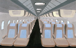 Passenger cabin in plane Stock Images