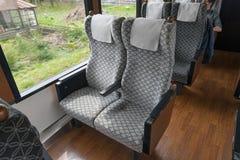 The passenger cabin of tourist train Koshino Shu*Kura. Stock Photos
