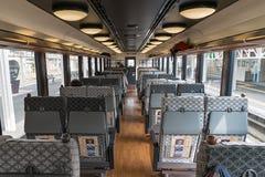 The passenger cabin of tourist train Koshino Shu*Kura. Royalty Free Stock Photos