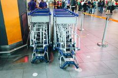 Trolleys at airport stock photography