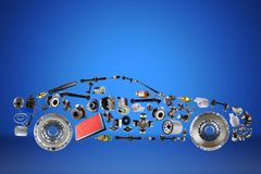 Passenger car assembled from new spare auto parts for shop aftermarket. On blue background Stock Photos