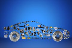 Passenger car assembled from new spare auto parts for shop aftermarket. Isolated on blue background Royalty Free Stock Photography