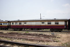 Passenger car class 3 car For train from chiangmai to bangkok Stock Photo