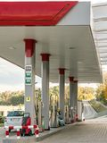 Modern Petrol station. Passenger car fueling at the petrol station stock photos