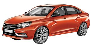 Passenger car sedan vehicle body type sedan technique speed drawing. Graceful figure of the car`s aerodynamic pattern headlight hood grille protector wheel sedan Stock Photo
