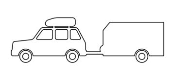 Passenger car with a trailer. Vector illustration stock illustration