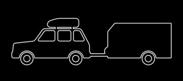 Passenger car with a trailer. Vector illustration vector illustration